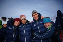 Hanging out with Middlebury ski team after DNFing first run of GS at Stowe