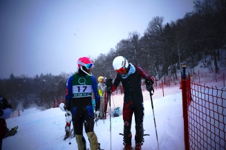 Brennan Rubie and Mark Engle after a tough slalom