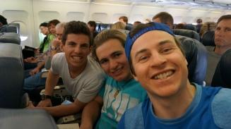 Airplane selfies! the guy behind us loves us goons