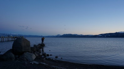 Mcnealus and Jack Schibli checking out the sunset on Lake Tahoe